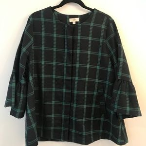 Navy and Green Plaid Swing Jacket